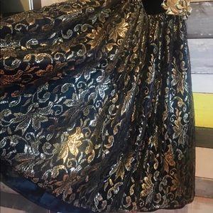 Vintage 1980's Black and Gold Dress